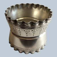 Ruffled sterling silver Napkin Ring Serviette Holder by Wood and Hughes unmonogrammed