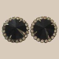Mid-Century Black Glass Rhinestone Pierced Earrings