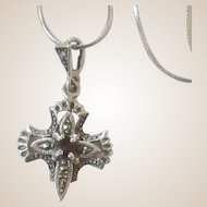 Lovely Sterling Silver Cross Garnet and Marcasite Chain Necklace