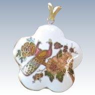 Vintage Cloisonne' Pendant - Peacocks and Flowers
