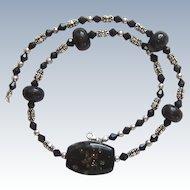 Lovely Vintage Sterling Silver Black Glass Bead Necklace