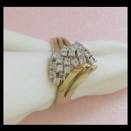 Sparkling Bold Vintage 14KT GE Cocktail Ring with Rhinestones Size 8 1/2