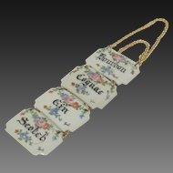 Vintage Set of Four Porcelain Liquor Tags - Signed