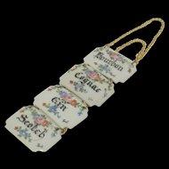Vintage Set of Four Porcelain Liquor Tags - Signed