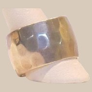 Hammered Sterling Silver Wide Band Ring - Size 9