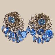 Vintage Gold Tone Blue Crystal Dangle Earrings