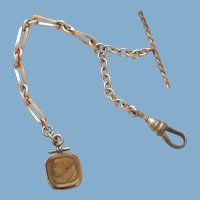 Victorian 10k Gold Filled Tigers Eye Watch Chain and Fob