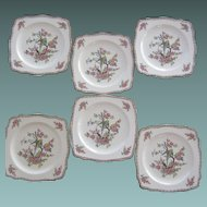 """Six Crown Ducal """"Parrot"""" Dessert Plates"""