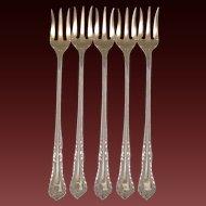 Antique Sterling Silver Seafood Forks (5)