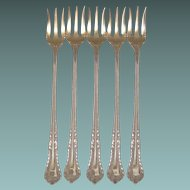 Antique Sterling Silver Seafood Forks (5)
