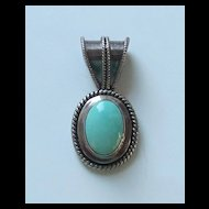 Striking Vintage Sterling Silver and Turquoise Cabochon Pendant