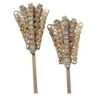 Pair, Hair Ornaments, Rhinestone, Gold Tone