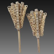 Pair, Hair Ornaments, Rhinestone, Gold Tone