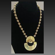 Dramatic Vintage Gold Tone and black Necklace