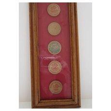 Framed Vintage Sambo's Wooden Tokens