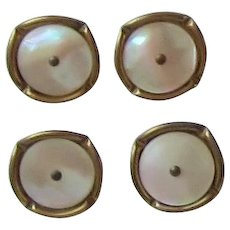 Vintage Brass Mother of Pearl Buttons