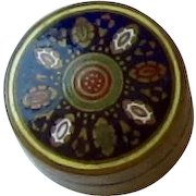 Brass and Enamel Round Pill Box