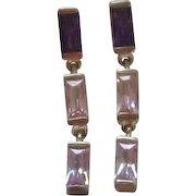 Dangle Sterling Silver Shades of Purple Pierced Earrings