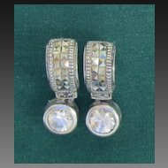 Beautiful Vintage Sterling Silver Pierced Rhinestone Earrings