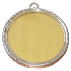 Sterling Silver 4 Inch Round Beaded Picture Frame