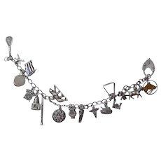 Vintage Sterling Silver Military Charm Bracelet