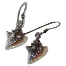 Vintage Sterling Silver Enamel Seashell Earrings