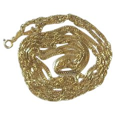 Long Italian Sterling Silver Gold Overlay Twisted Chain Necklace
