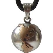 Vintage Copper,Sterling Silver Chime Ball Pendant/Charm