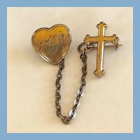 9kt Gold Filled Religious Cross and Heart Pin