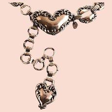 Ladies Vintage Silvertone Belt - Heart