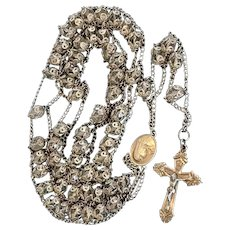 Sterling Silver Crystal Rosary Beads