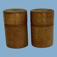 Two Wood Spice Jars,