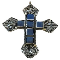 Vintage Pendant, Large Handmade Cross, Lapis Stones