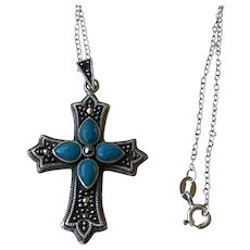 Marcasite, Turquoise Sterling Cross Necklace