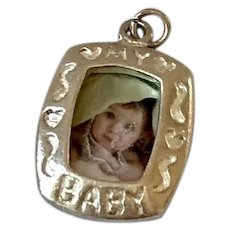 Sterling Silver Baby Picture Frame Charm/Pendant