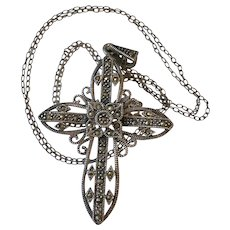 Sterling Silver Marcasite Cross Necklace