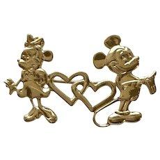 Disney Minnie & Mickey Gold Tone Pin