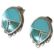 Zuni Native American Inlay Sterling Pierced Earrings
