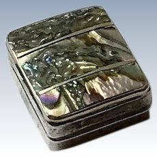 Sterling Silver Abalone Pill Box,