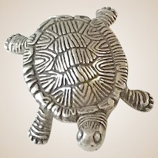 Sterling Silver Turtle, Statue, Paperweight