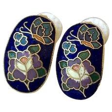 Cloisonne' Butterfly, Flower Pierced Earrings