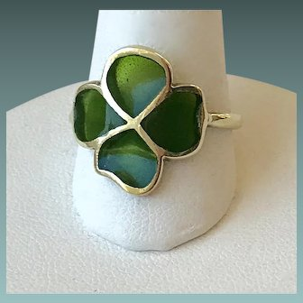 14K Gold Enamel Clover Ring