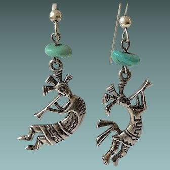 Sterling Silver Turquoise KOKOPELLI Earrings