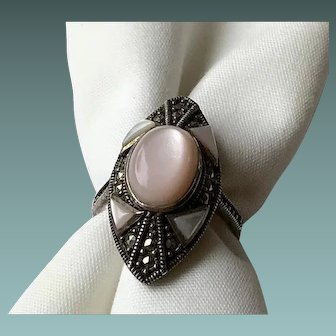 Sterling Silver Pink Mother of Pearl Ring