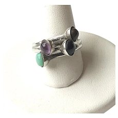 Sterling Silver Interlocking Onyx, Turquoise and Amethyst Ring - Size 6 1/2