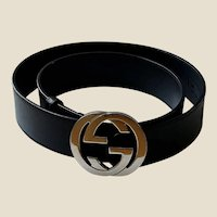 Genuine GUCCI Black Leather Belt- ITALY