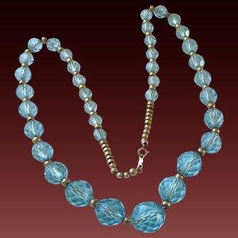 Vintage Crystal 14K Gold Bead Necklace