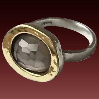 Modernist Sterling Silver,14K Gold Ametrine Ring
