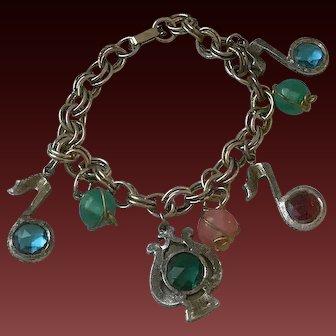 Vintage Musical Theme Charm Bracelet