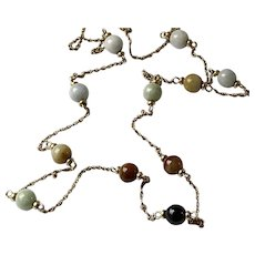14K Gold Jade Beads Necklace